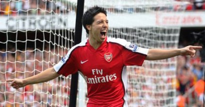 Samir Nasri celebrating his debut goal!